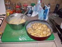 appareil clafoutis et pommes caramélisées