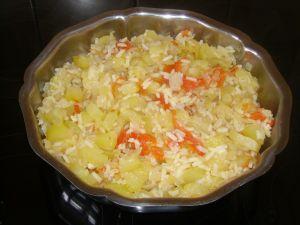 Courgettes aux oignons,tomates et riz.
