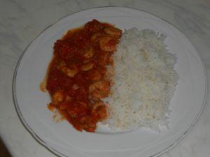 Crevettes au gingembre accompagnées de riz basmati