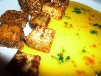 Les cubes de tofu délicatement enrobés de chapelure...