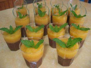 Dessert Chocolat-Pêche en verrines