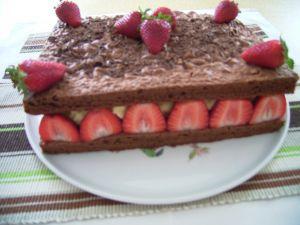 Gateau au chocolat et fraise