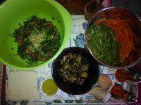 Légumes cuits et mélange viande/oeuf/oignons/mie de pain/gingembre et herbes.