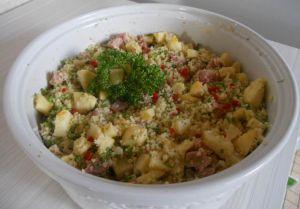 Salade de semoule, pommes et jambon