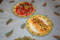 salade de tomates,et omelette aux herbes