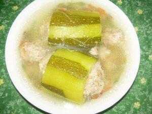 soupe de courgette farcie à la chinoise