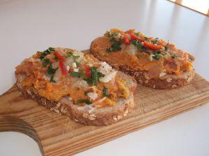 Tapas patate douce, courgette et chorizo.