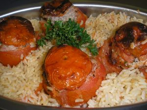 Tomates farcies au veau et riz for Definition de la farce