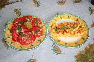 salade de tomates, omelette aux herbes
