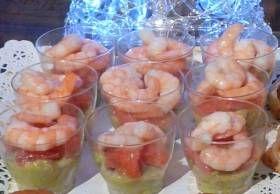 Verrines guacamole crevettes